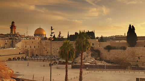 Panning shot of Time lapse of sunrise over Old Jerusalem Footage