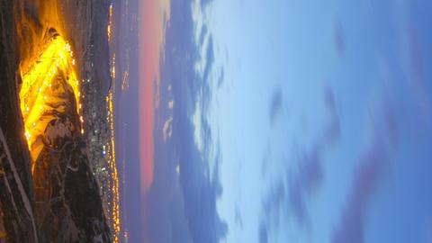 Vertical shot of Time lapse of dawn breaking over Jordan Footage
