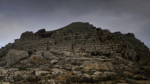 Time-lapse of the castle ruins at Nimrod. Cropped Footage