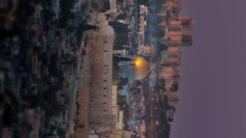 Vertical shot of Time-lapse overlooking old city Jerusalem from the west of the  Footage