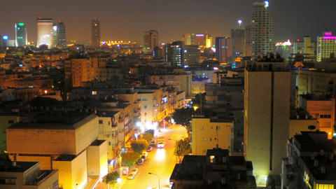 Panning shot of Tel Aviv time-lapse of the city at sunrise Footage