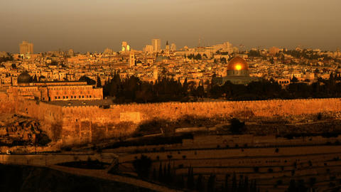 Sunrise time-lapse from the Mount of Olives overlooking the Dome of the Rock. Cr Footage