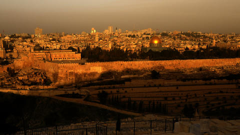 Panning shot of Sunrise time-lapse from the Mount of Olives overlooking the Dome Footage