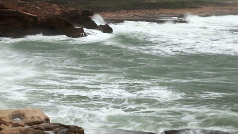 the surf at the Rosh Hanikra shore in Israel Footage