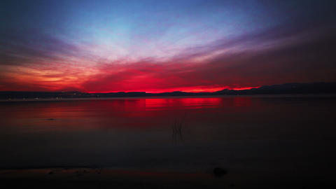 Stock Footage of a beautiful, colorful sunset at the Sea of Galilee in Israel Footage