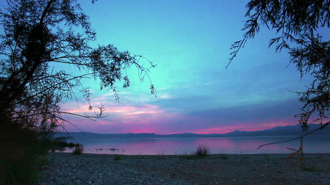 Stock Footage of the sky at sundown over the Sea of Galilee in Israel Footage