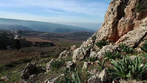 Stock Footage of a rocky hillside in the Golan Heights in Israel Footage