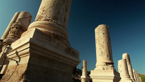 Stock Footage of broken columns at Beit She'an in Israel Footage