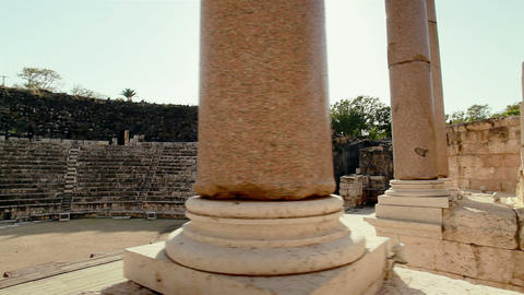 Stock Footage of columns at the theater at Beit She'an in Israel Footage