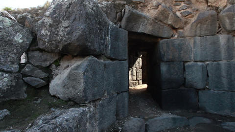 Stock Footage of a stone tunnel at Beit She'an in Israel Footage