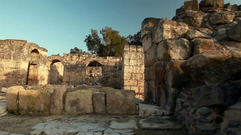 Stock Footage of walls and arches at Beit She'an in Israel Footage