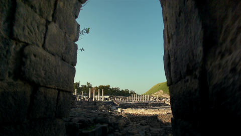 Stock Footage of columns through an archway in Israel Footage