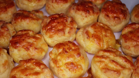 Home made scone scones rotating seamless looping food texture pattern close up Live Action