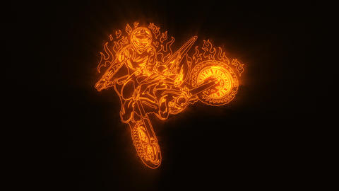 Orange Burning Motocross Bike Logo Loopable Graphic Element Animation