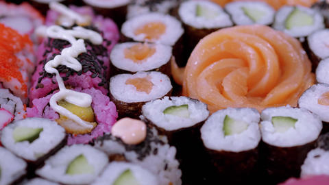 Selection of Sushi and Japanese food Footage
