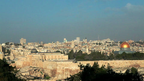 Stock Footage of the mosques of Temple Mount in Jerusalem, Israel Footage