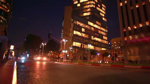 Stock Footage of a Tel Aviv street at night in Israel Footage