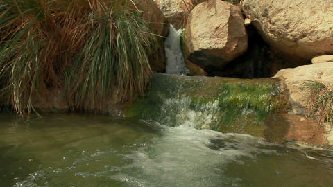 Stock Footage of a stream cascading between boulders in Israel Footage