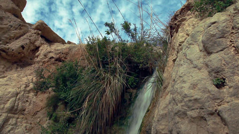 Stock Footage of water cascading down rocks in Israel Live Action