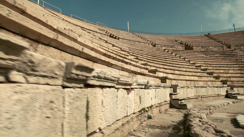 Stock Footage of stone seating at the theater at Caesarea in Israel Live Action