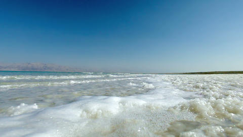 Stock Footage of Dead Sea waves on the salty shore in Israel Footage