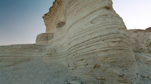 Stock Footage of a layered desert rock formation in Israel Footage