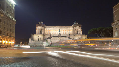Heavy traffic in the square by the VIttoriano in Rome, caught on time-lapse. Cro Footage
