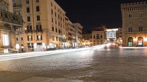 Heavy traffic in a city square in Rome, caught on time-lapse. Cropped Footage