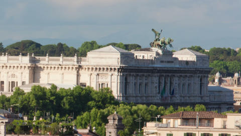 Times-lapse of the Palace of Justice and San Giovanni dei Fiorentini. Cropped Footage