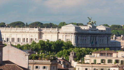 Panning shot of Times-lapse of the Palace of Justice and San Giovanni dei Fioren Footage