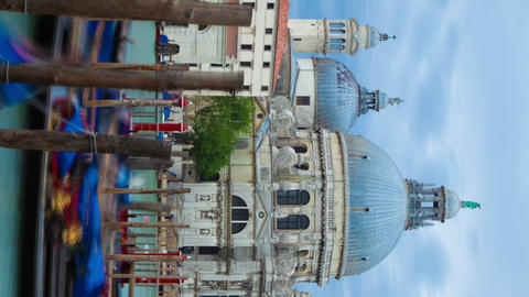 Vertical time-lapse of Santa Maria della Salute from Saint Mark's Square Footage