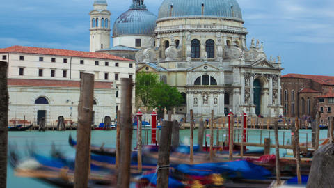 Panning time-lapse of Santa Maria della Salute from Saint Mark's Square Footage