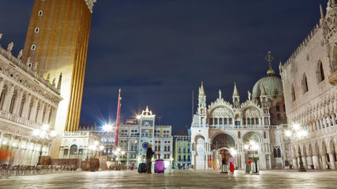 Panning shot of Nigthtime Saint Mark Square time-lapse in the square Live Action