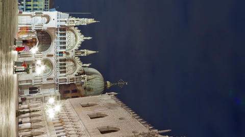 Vertical shot of Nigthtime Saint Mark Square time-lapse in the square Live Action