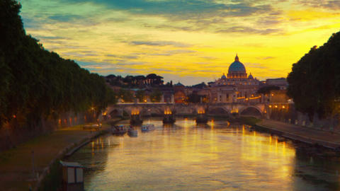 Vibrant sunset time-lapse of the Vatican City, from across the Tevere River. Cro Footage