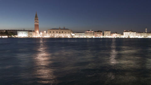 Saint Mark Square time-lapse at night. Cropped Live Action