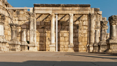 Panning shot of Dolly time-lapse of the old synagogue in Capernuam, Israel Footage