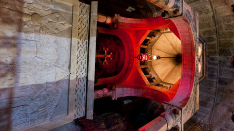 Vertical shot of Low-angle tracking footage of Armenian Chapel, Division of Holy Footage