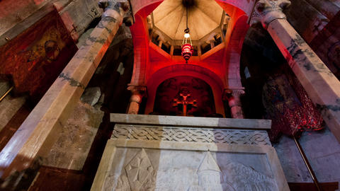 Panning shot of Low-angle tracking footage of Armenian Chapel, Division of Holy  Footage