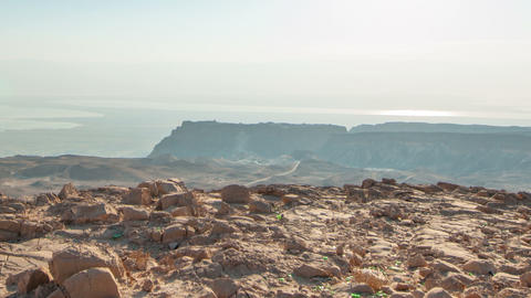 Daytime time-lapse at Masada, Israel. Cropped Live Action