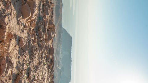 Vertical shot of Daytime time-lapse at Masada, Israel Live Action