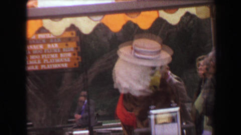 1970: Busch Gardens cartoon character furry mascot greeting visitors upon entry Footage