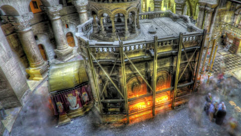 Shot of the Edicule of the Holy Sepulchral time-lapse of tourists walking around Footage