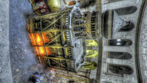 Vertical shot of Shot of the Edicule of the Holy Sepulchral time-lapse of touris Live Action