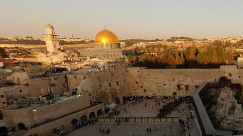 Dome of the Rock time-lapse from the Jewish Quarter at sunset. Cropped Live Action