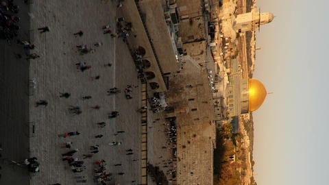 Vertical shot of Dome of the Rock time-lapse from the Jewish Quarter at sunset Live Action