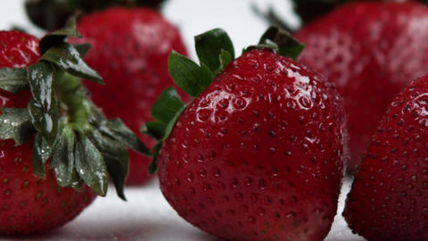 Close up slow panorama of strawberries Footage
