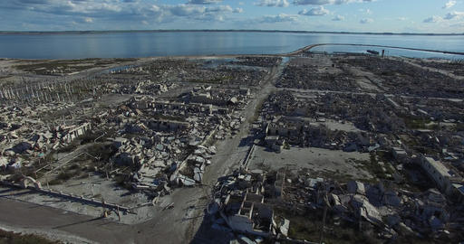 Aerial Drone Scene Of Destroyed City By Natural Catastrophe. Camera Fly Through  stock footage