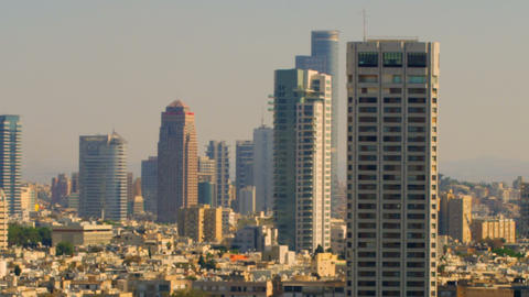 Royalty Free Stock Video Footage of a panoramic Tel Aviv skyline shot in Israel  Footage