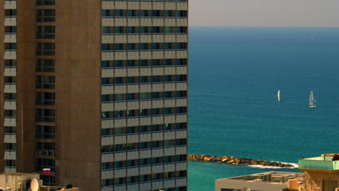 Stock Video Footage of Mediterranean sailboats and Tel Aviv shot in Israel at 4k Footage